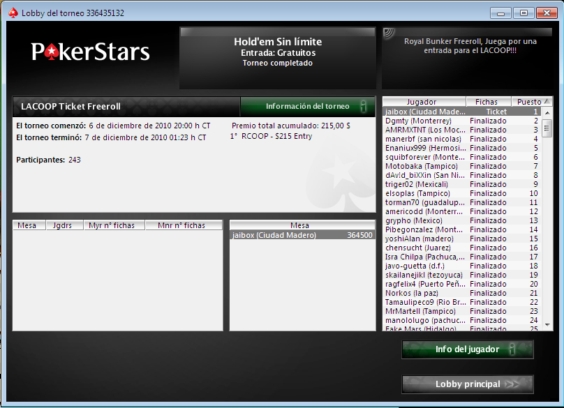Ticket freeroll - 20507