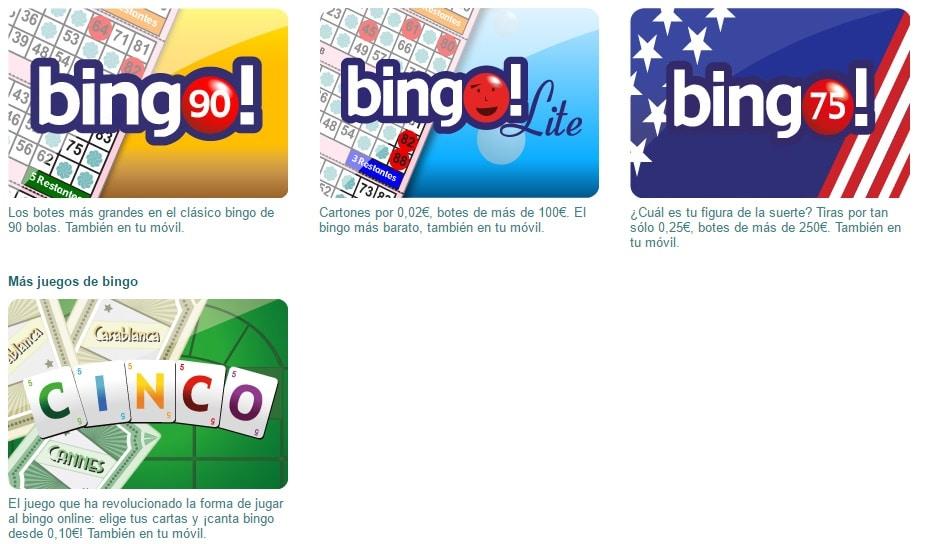 100 tipos de bingo bonos por registro - 73501